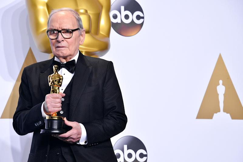 Ennio Morricone in the Press Room at the 88th Academy Awards Ceremony held at the Dolby Theatre in Hollywood, California on February 28, 2016. (Photo by Sthanlee B. Mirador) (Photo: SIPA USA/PA Images)