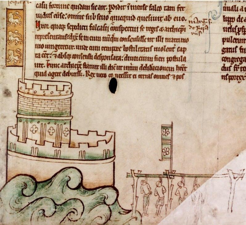 <p>Getting tough: Shortly before Robert of Wetherby (potentially Robin Hood) was hunted down and beheaded, the Crown had hung virtually the entire rebel garrison of Bedford Castle</p>CC Via Chronica Majora