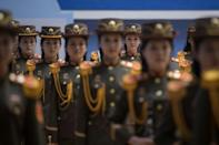 In a photo taken on September 21, 2017 Korean People's Army (KPA) musicians prepare to perform following the 20th ITF World Taewondo Championships in Pyongyang