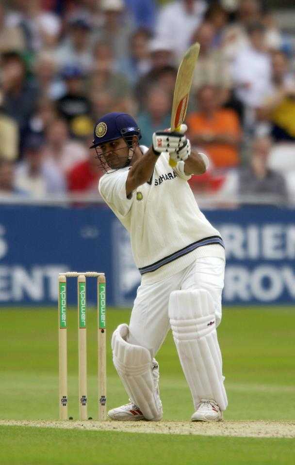NOTTINGHAM - AUGUST 8:  Virender Sehwag of India in action during the first day of the NPower Second Test match between England and India on August 8, 2002 played at Trent Bridge in Nottingham, England. The match ended in a draw. (Photo By Tom Shaw/Getty Images)