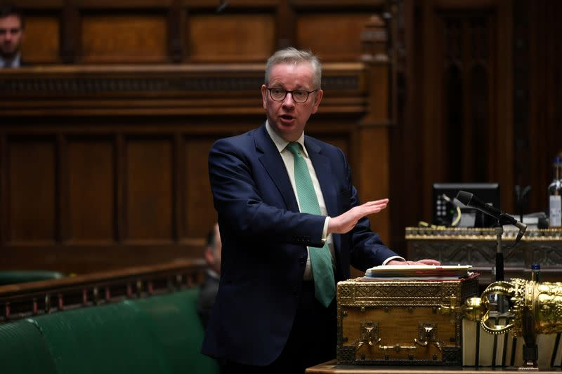 FILE PHOTO: Britain's Chancellor of the Duchy of Lancaster Michael Gove speaks at the House of Commons in London