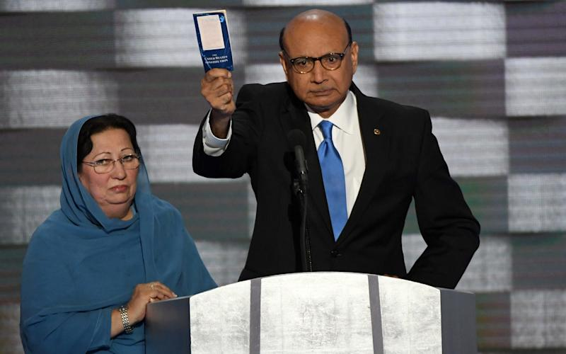 Khizr Khan, whose son, Capt. Humayun Khan, was killed in Iraq, address delegates on day four of the Democratic National Convention at Wells Fargo Center in Philadelphia, Pennsylvania on July 28, 2016 - UPI / Barcroft Media