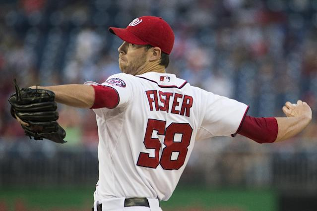 Washington Nationals starting pitcher Doug Fister delivers during the first inning of a baseball game against the San Francisco Giants on Friday, Aug. 22, 2014, in Washington. (AP Photo/Evan Vucci)
