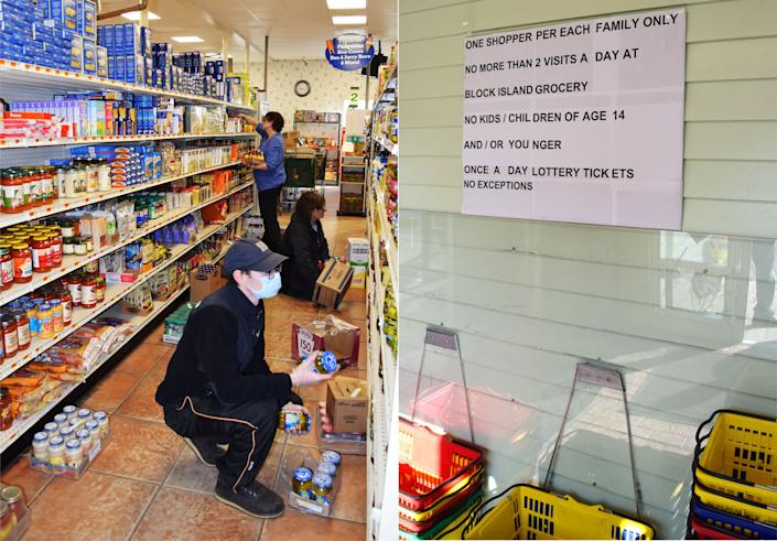 Workers stock shelves at Block Island's only year-round grocery store on March 26. Posted rules limit the number of visits per day. (Photo: Kari Curtis for HuffPost)