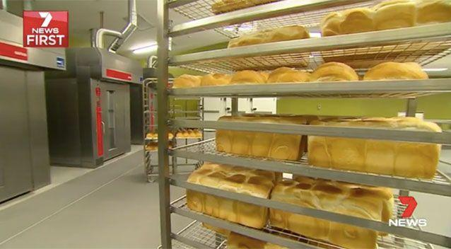Bread is made fresh daily inside the prison bakery. Source: 7News