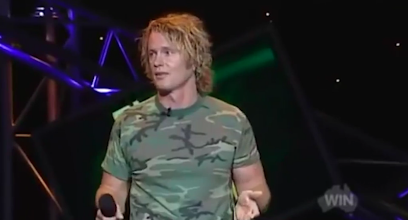 The moment Craig McLachlan realised his comedy wasn't working. Source: YouTube/The Footy Show
