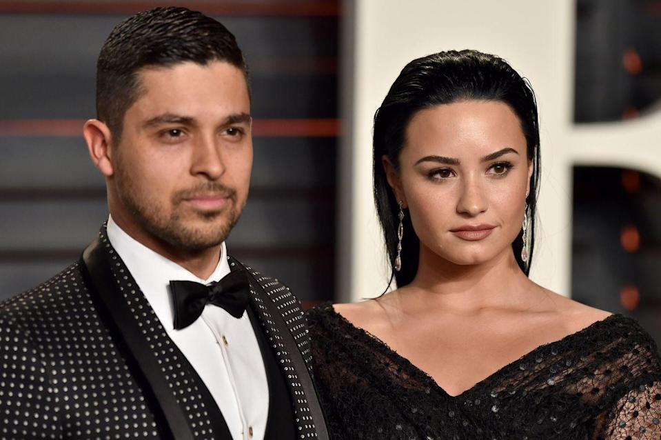 """<p>The two first connected in 2010 but split in 2012. They <a href=""""https://www.usmagazine.com/celebrity-news/news/demi-lovato-wilmer-valderrama-split-relationship-timeline-w208817/"""" rel=""""nofollow noopener"""" target=""""_blank"""" data-ylk=""""slk:reconciled"""" class=""""link rapid-noclick-resp"""">reconciled </a>publicly in 2014, and in 2015, Lovato <a href=""""https://people.com/celebrity/demi-lovato-thanks-wilmer-valderrama-on-instagram-marks-3-years-sober/"""" rel=""""nofollow noopener"""" target=""""_blank"""" data-ylk=""""slk:shared a thank you"""" class=""""link rapid-noclick-resp"""">shared a thank you </a>to Valderrama on her third anniversary of sobriety. They <a href=""""https://people.com/celebrity/demi-lovato-and-wilmer-valderrama-split-after-six-years/"""" rel=""""nofollow noopener"""" target=""""_blank"""" data-ylk=""""slk:ended things"""" class=""""link rapid-noclick-resp"""">ended things </a>in 2016. </p>"""