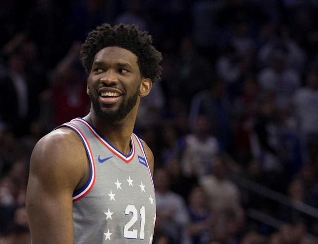 "Even after a loss, <a class=""link rapid-noclick-resp"" href=""/nba/players/5294/"" data-ylk=""slk:Joel Embiid"">Joel Embiid</a>'s troll game remains strong. (Getty Images)"
