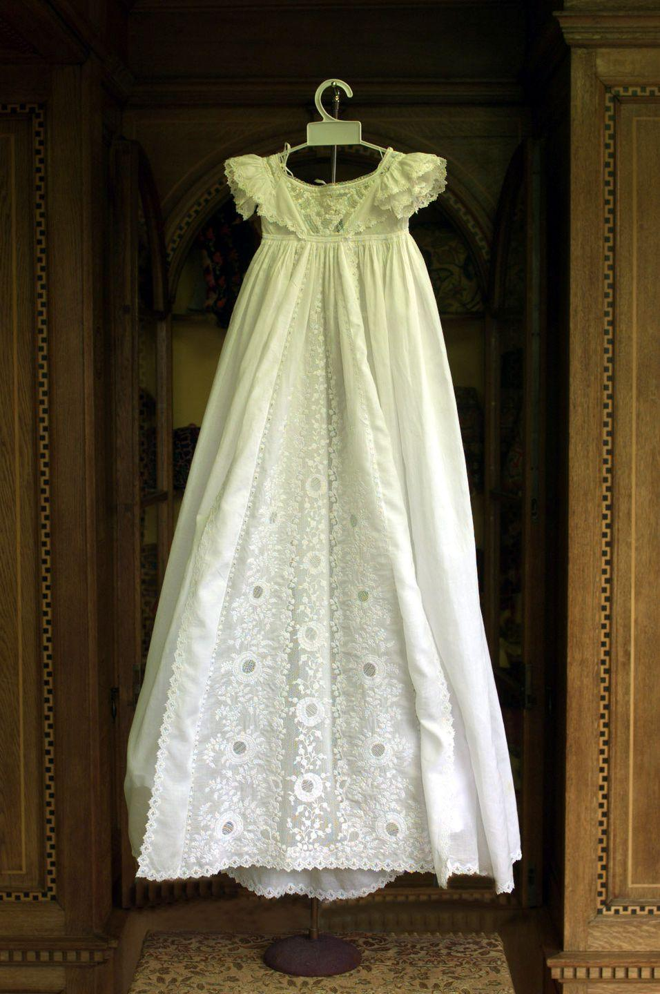 <p>Diana wore this 19th century gown for her christening. It was displayed in summer 1999 at Althorp, the Spencer family's estate near Northampton.<br></p>