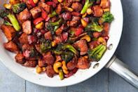 """<p>The best part of this chicken stir fry is how versatile it can be. Broccoli and bell peppers are great, but pretty much any vegetable you have in the fridge will work, too.</p><p>Get the <a href=""""https://www.delish.com/uk/cooking/recipes/a33653203/chicken-stir-fry-recipe/"""" rel=""""nofollow noopener"""" target=""""_blank"""" data-ylk=""""slk:Honey Garlic Chicken Stir Fry"""" class=""""link rapid-noclick-resp"""">Honey Garlic Chicken Stir Fry</a> recipe. </p>"""