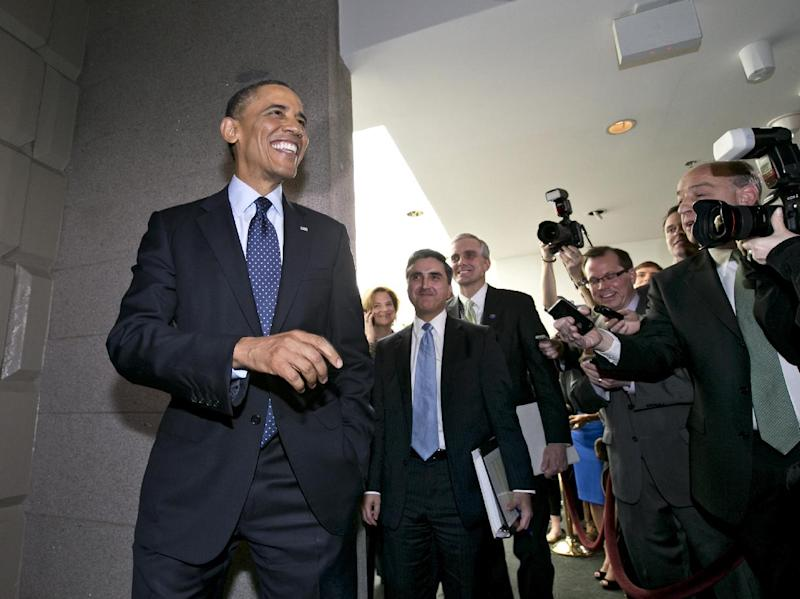 President Barack Obama turns to reporters as he leaves  Capitol Hill in Washington, Wednesday, March 13, 2013, after his closed-door meeting with House Speaker John Boehner and Republican lawmakers to discuss the budget.  (AP Photo/J. Scott Applewhite)