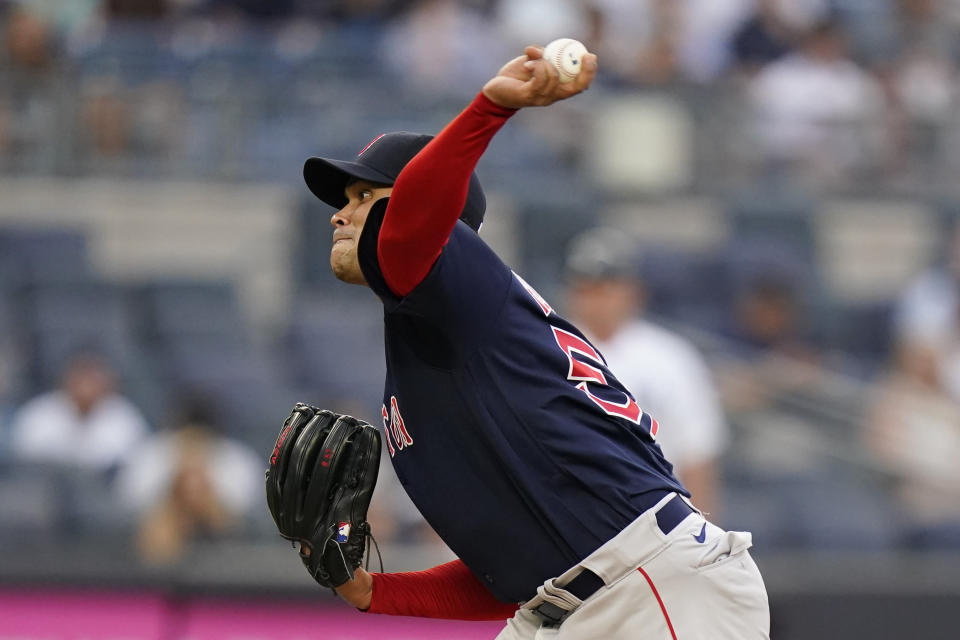 Boston Red Sox's Eduardo Rodriguez delivers a pitch during the first inning of a baseball game against the New York Yankees, Friday, July 16, 2021, in New York. (AP Photo/Frank Franklin II)