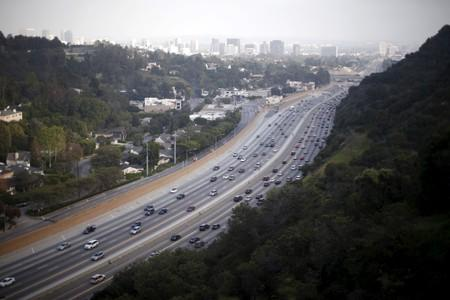 FILE PHOTO: The 405 freeway is seen from the Getty Center art museum and tourist landmark in Los Angeles