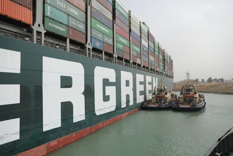 A side-on picture of the Ever Given container ship in the Suez Canal