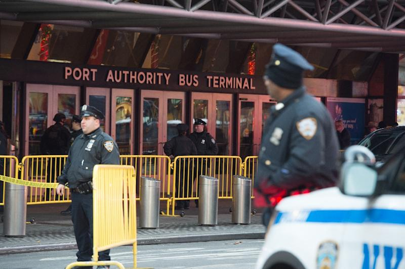 Police respond to an explosion at the Port Authority Bus Terminal on December 11, 2017 in New York