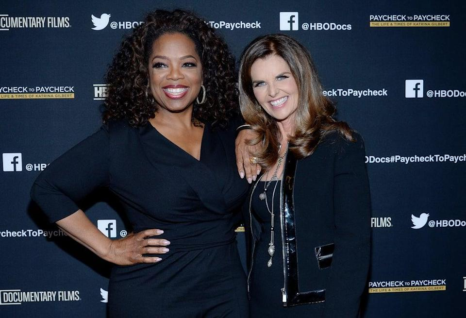 Oprah Winfrey (L) and executive producer Maria Shriver attend the premiere of HBO Documentary Films'