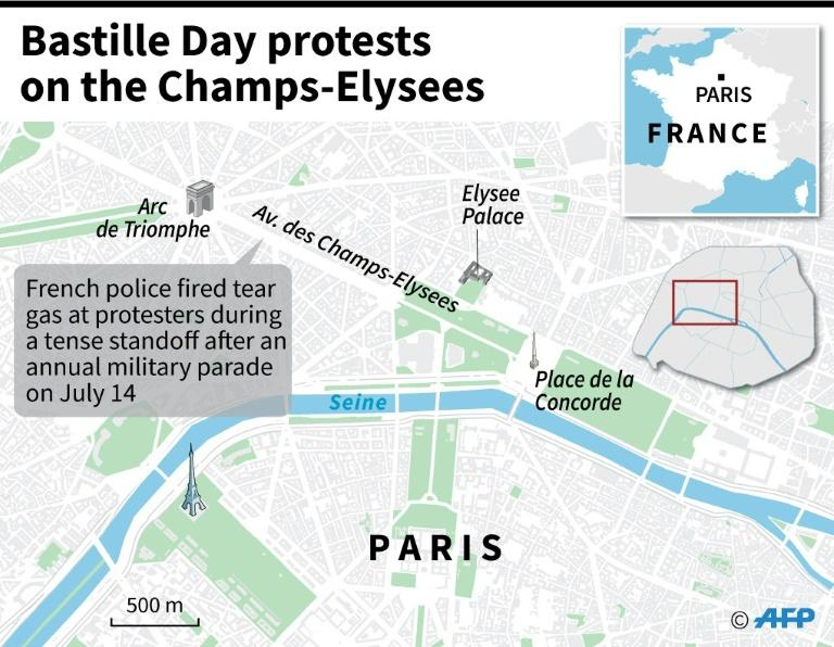 Map of Paris locating Champs-Elysees in Paris, where French police fired tear gas at protesters during a tense standoff on Sunday