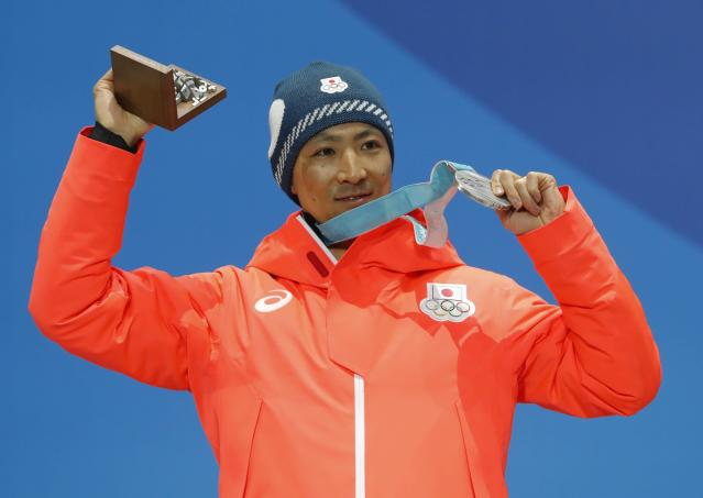Medals Ceremony - Nordic Combined Events - Pyeongchang 2018 Winter Olympics - Men's Individual 10km - Medals Plaza - Pyeongchang, South Korea - February 15, 2018 - Silver medalist Akito Watabe of Japan on the podium. REUTERS/Eric Gaillard