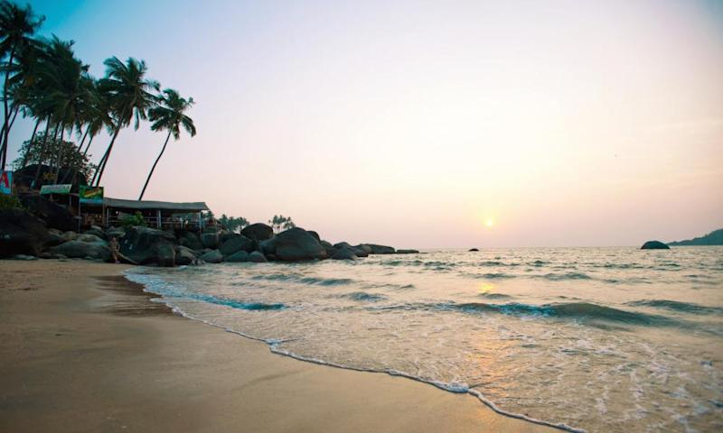 Palolem Beach, Goa State, India, which is close to the site where the woman's body was found.