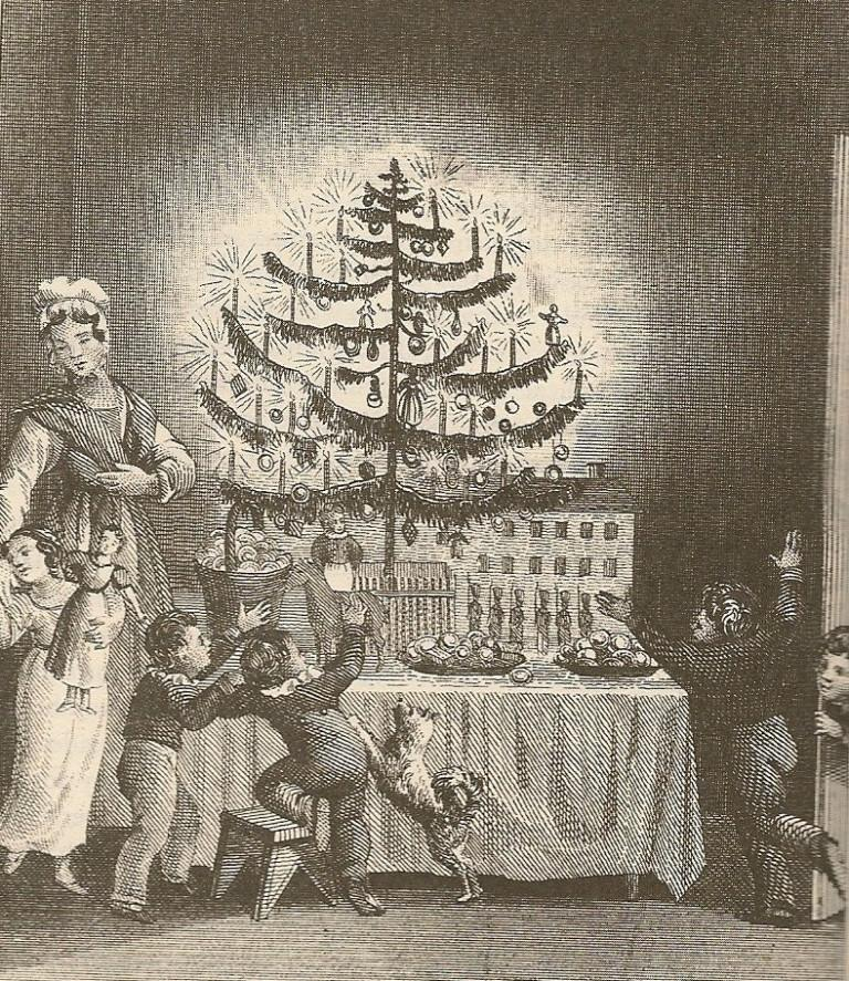 First published image of a Christmas tree, frontispiece to Hermann Bokum's 1836