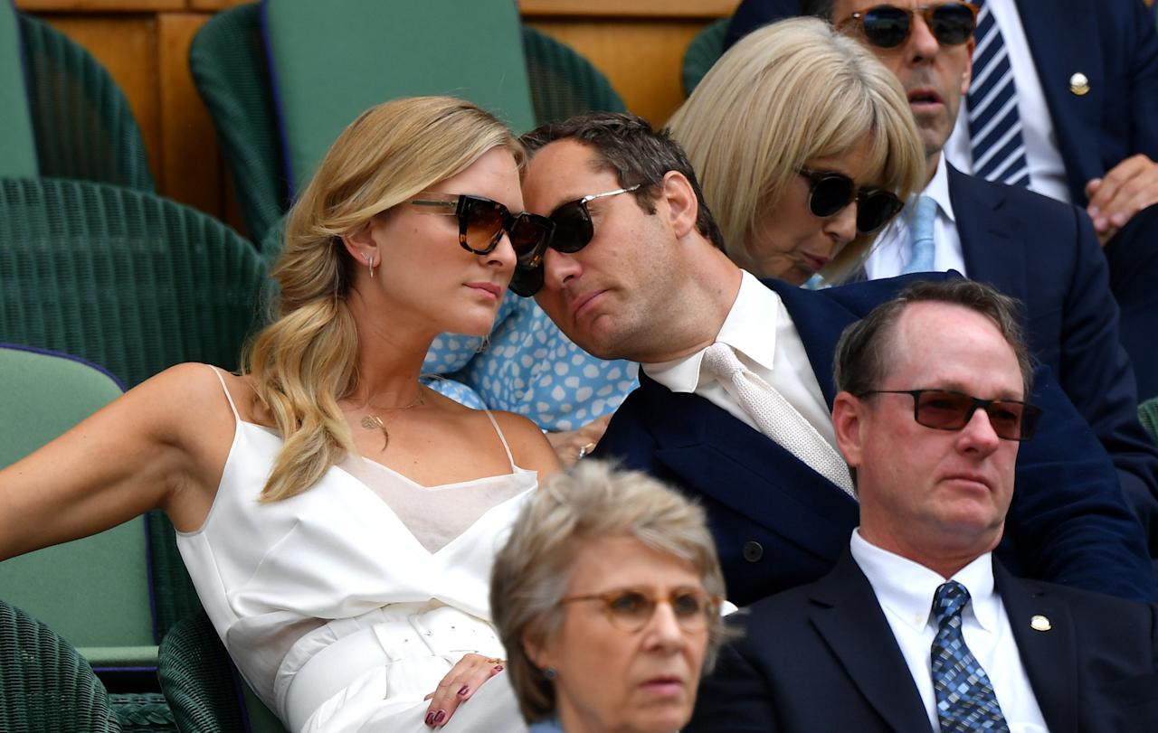 LONDON, ENGLAND - JULY 12: Actor Jude Law and his wife Phillipa Coan attend the Royal Box during Day eleven of The Championships - Wimbledon 2019 at All England Lawn Tennis and Croquet Club on July 12, 2019 in London, England. (Photo by Mike Hewitt/Getty Images)