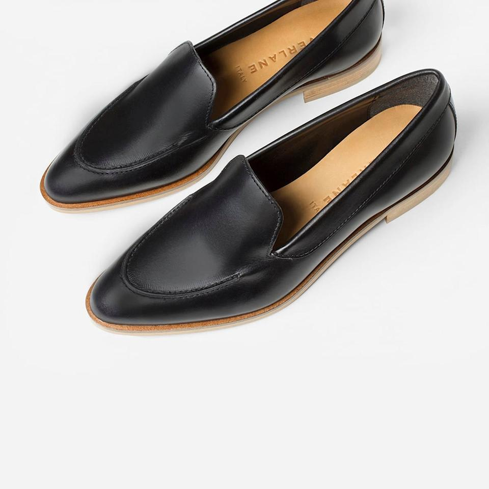 """<h3><a href=""""https://www.everlane.com/products/womens-modern-loafer-black"""" rel=""""nofollow noopener"""" target=""""_blank"""" data-ylk=""""slk:Everlane The Modern Loafer"""" class=""""link rapid-noclick-resp"""">Everlane The Modern Loafer</a></h3><br>Another Everlane most wanted — only this time, instead of a new-product drop, the good is a 50%-off classic. We covered the goodbye-sale song of these <a href=""""https://refinery29.com/en-us/everlane-shoe-sale"""" rel=""""nofollow noopener"""" target=""""_blank"""" data-ylk=""""slk:wear-with-anything loafers"""" class=""""link rapid-noclick-resp"""">wear-with-anything loafers</a> that, after over 3,000 satisfied customer purchases, are soon to be retired. <br><br><strong>Everlane</strong> The Modern Loafer, $, available at <a href=""""https://www.everlane.com/products/womens-modern-loafer-black?collection=womens-loafers-oxfords"""" rel=""""nofollow noopener"""" target=""""_blank"""" data-ylk=""""slk:Everlane"""" class=""""link rapid-noclick-resp"""">Everlane</a>"""
