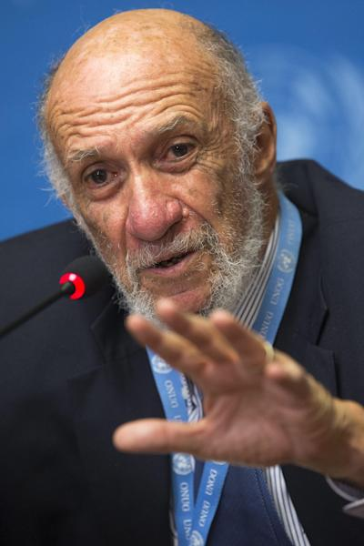 U.S. Richard Falk, U.N. Special Rapporteur on the situation of human rights in the Palestinian territories answers journalist's questions during a press conference after he presented his report to the U.N. Human Rights Council, at the European headquarters of the United Nations, in Geneva, Switzerland, Tuesday, June 11, 2013. (AP Photo/Keystone, Salvatore Di Nolfi)