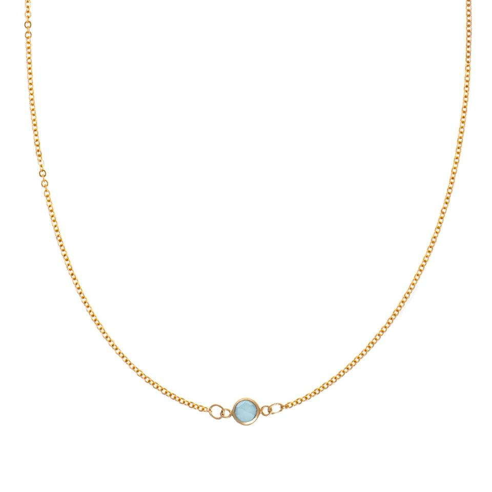 """If you're sure of her baby's birth month, gift her this 14-karat gold birthstone necklace. She can keep adding to it as the family grows—and for a limited time, a portion of sales is being donated to <a href=""""https://www.nokidhungry.org/"""" rel=""""nofollow noopener"""" target=""""_blank"""" data-ylk=""""slk:No Kid Hungry"""" class=""""link rapid-noclick-resp"""">No Kid Hungry</a>. $295, Haverhill. <a href=""""https://haverhillcollection.com/collections/birthstone-necklaces/products/birthstone-necklace-1-stone"""" rel=""""nofollow noopener"""" target=""""_blank"""" data-ylk=""""slk:Get it now!"""" class=""""link rapid-noclick-resp"""">Get it now!</a>"""