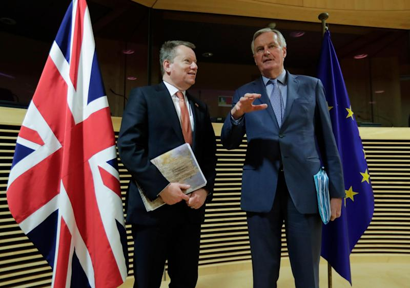 UK and EU chief negotiators David Frost and Michel Barnier have been unable to meeting in person during the pandemic: AFP