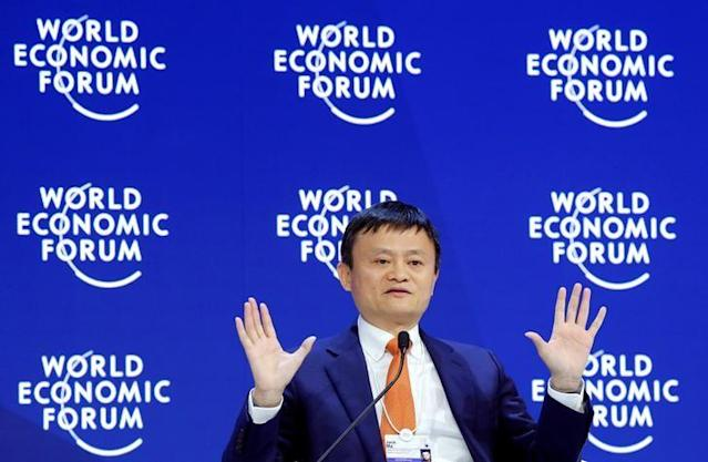 FILE PHOTO – Jack Ma, Executive Chairman of Alibaba Group Holding, gestures as he speaks the World Economic Forum (WEF) annual meeting in Davos, Switzerland January 24, 2018. REUTERS/Denis Balibouse