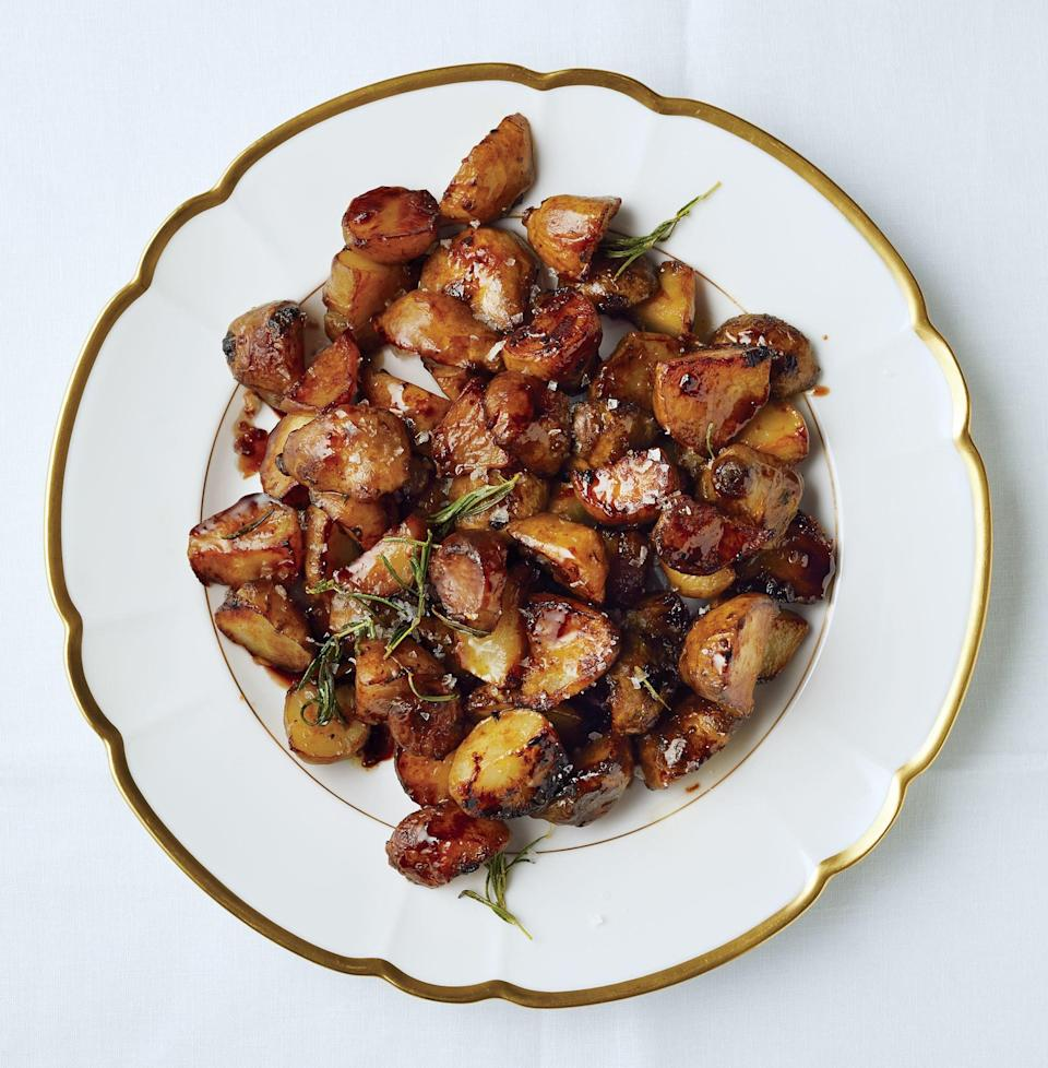 """These knobby-looking tubers (a.k.a. sunchokes) are sweet and nutty when browned. Balsamic vinegar smacks some sass into them. <a href=""""https://www.bonappetit.com/recipe/crispy-jerusalem-artichokes-with-aged-balsamic?mbid=synd_yahoo_rss"""" rel=""""nofollow noopener"""" target=""""_blank"""" data-ylk=""""slk:See recipe."""" class=""""link rapid-noclick-resp"""">See recipe.</a>"""