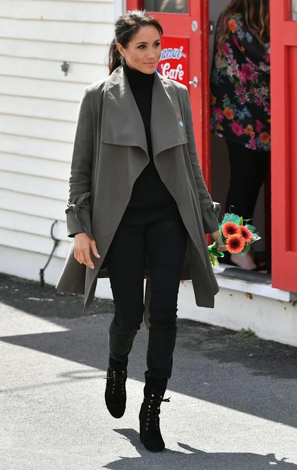 "<p>Meghan paid tribute to her adopted home, Canada (that's where her show <em>Suits</em> was filmed) with a pair of black jeans from Outland Denim. She <a rel=""nofollow"" href=""https://www.marieclaire.com/fashion/g24406793/meghan-markle-royal-tour-wardrobe-cost/"">wore them several times</a> throughout the royal tour with Prince Harry this month.<em> </em>Evidently, they're super comfortable.<br></p>"