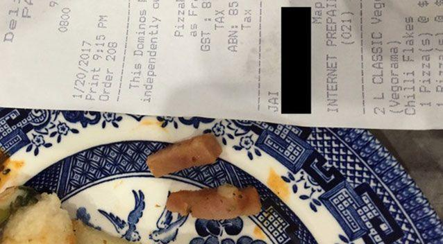 A Domino's manager has apologised for 'really awful service' after a family accidentally chowed down on pizzas with meat on them. Source: Supplied