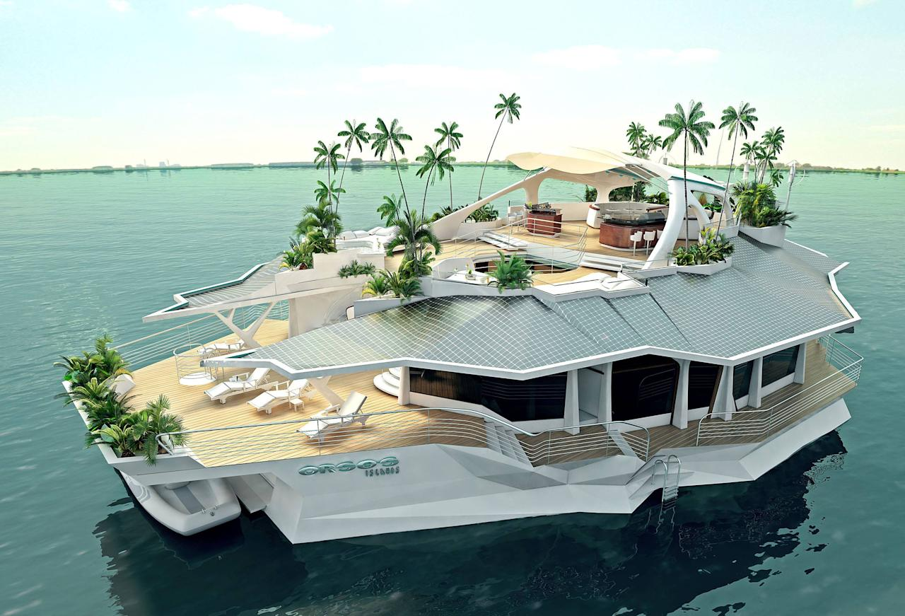 "Floating Island  An Austrian company is giving wealthy consumers the chance to own a private floating island. But life aboard an ORSOS Island doesn't exactly come cheap either - setting buyers back about 5.2 million Euro ($6.5 million). The floating island offers more than 10,000 square feet of living space and enough rooms to accommodate 12 people, as well as up to four staff members. Measuring 66 feet by 121 feet (20m by 37m), the ""Orsos Island"" has no engine but can be anchored anywhere its owners choose and then towed to another location if they wish.  Austria - June 2012  Supplied by WENN.com"