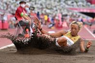 <p>Germany's Malaika Mihambo competes in the women's long jump qualification during the Tokyo 2020 Olympic Games at the Olympic Stadium in Tokyo on August 1, 2021. (Photo by Andrej ISAKOVIC / AFP)</p>