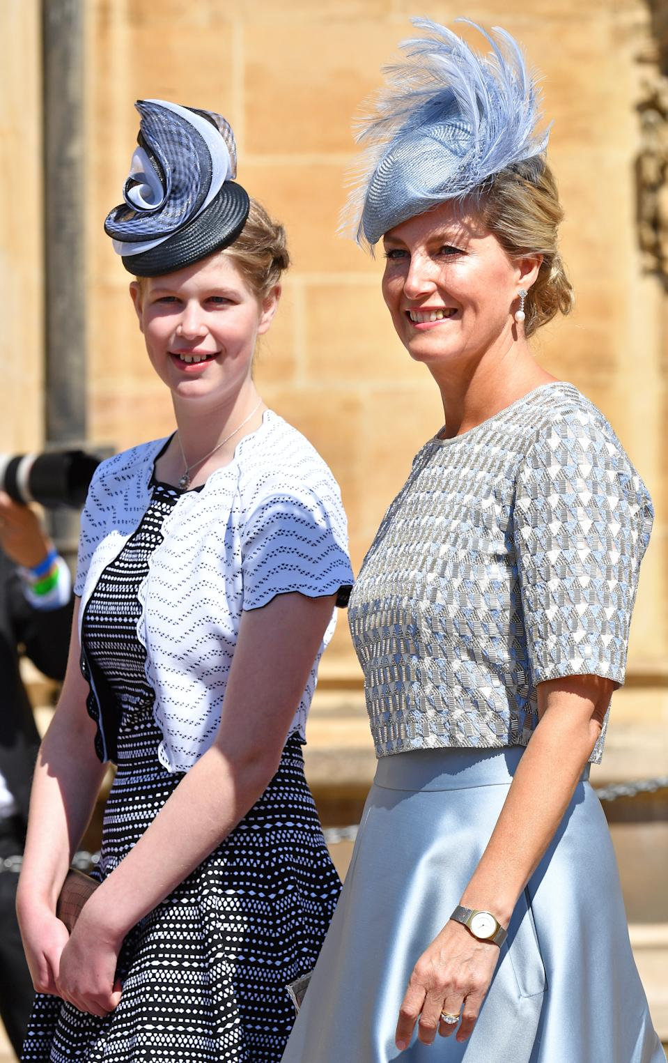 WINDSOR, UNITED KINGDOM - MAY 19: (EMBARGOED FOR PUBLICATION IN UK NEWSPAPERS UNTIL 24 HOURS AFTER CREATE DATE AND TIME) Lady Louise Windsor and Sophie, Countess of Wessex attend the wedding of Prince Harry to Ms Meghan Markle at St George's Chapel, Windsor Castle on May 19, 2018 in Windsor, England. Prince Henry Charles Albert David of Wales marries Ms. Meghan Markle in a service at St George's Chapel inside the grounds of Windsor Castle. Among the guests were 2200 members of the public, the royal family and Ms. Markle's Mother Doria Ragland. (Photo by Pool/Max Mumby/Getty Images)