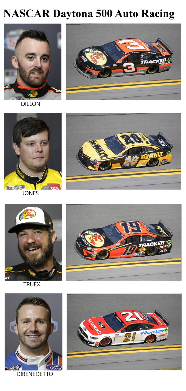 These photos taken in February 2020 show drivers in the starting lineup for Sunday's NASCAR Daytona 500 auto race in Daytona Beach, Fla. From top are Austin Dillon, starting in the 13th position; Erik Jones, 14th position; Martin Truex Jr., 15th position and Matt DiBenedetto, 16th position. (AP Photo)