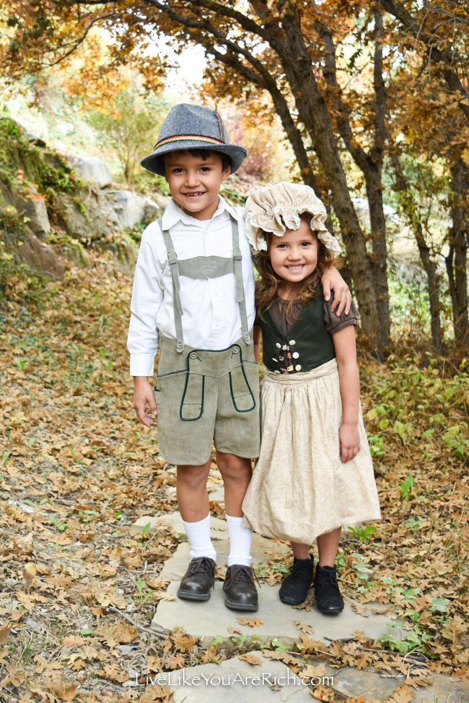 """<p>Hansel and Gretel's eventual fate in <em>Grimm's Fairy Tales </em>is, well, a little bleak. But you can remind your kids of the happier parts of the story by dressing them up in these sweet, old-fashioned outfits.</p><p><strong>Get the tutorial at <a href=""""https://livelikeyouarerich.com/hansel-and-gretel-costumes-grimms-fairytales/"""" rel=""""nofollow noopener"""" target=""""_blank"""" data-ylk=""""slk:Live Like You Are Rich"""" class=""""link rapid-noclick-resp"""">Live Like You Are Rich</a>.</strong></p><p><a class=""""link rapid-noclick-resp"""" href=""""https://go.redirectingat.com?id=74968X1596630&url=https%3A%2F%2Fwww.walmart.com%2Fsearch%2F%3Fquery%3Dbonnets&sref=https%3A%2F%2Fwww.thepioneerwoman.com%2Fholidays-celebrations%2Fg37014285%2Fbook-character-costumes%2F"""" rel=""""nofollow noopener"""" target=""""_blank"""" data-ylk=""""slk:SHOP BONNETS"""">SHOP BONNETS</a></p>"""