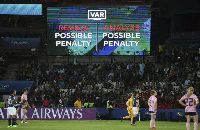 Illustration of the billboard warning the supporters of the use of the VAR (Photo by Jean Catuffe/Getty Images)