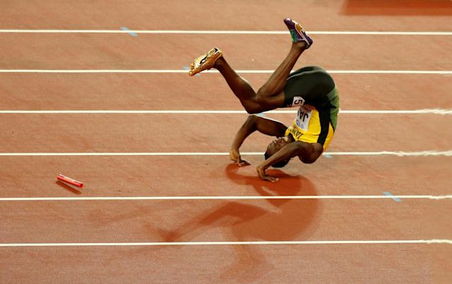"Usain Bolt of Jamaica falls down injured in the Men's 4 X 100 meters relay final during the World Athletics Championships at London Stadium, London, Britain, August 12, 2017. REUTERS/Matthew Childs/File Photo SEARCH ""POY SPORT"" FOR THIS STORY. SEARCH ""REUTERS POY"" FOR ALL BEST OF 2017 PACKAGES. TPX IMAGES OF THE DAY"