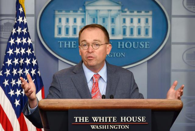 Acting White House chief of staff Mick Mulvaney speaks during a White House press briefing on Oct. 17. (Photo: Jim Watson/AFP via Getty Images)