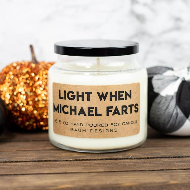 Personalized Light When Name Farts Soy Candle