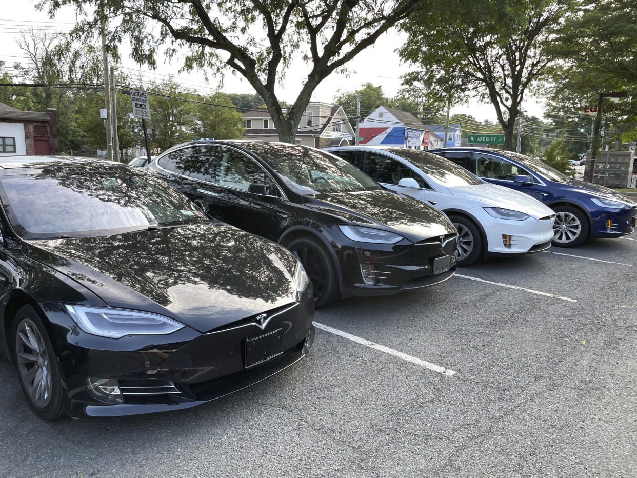 Photo by: STRF/STAR MAX/IPx 2021 8/16/21 Tesla's Autopilot under federal investigation following crashes. Here, a Tesla Dealership is seen in White Plains, New York.