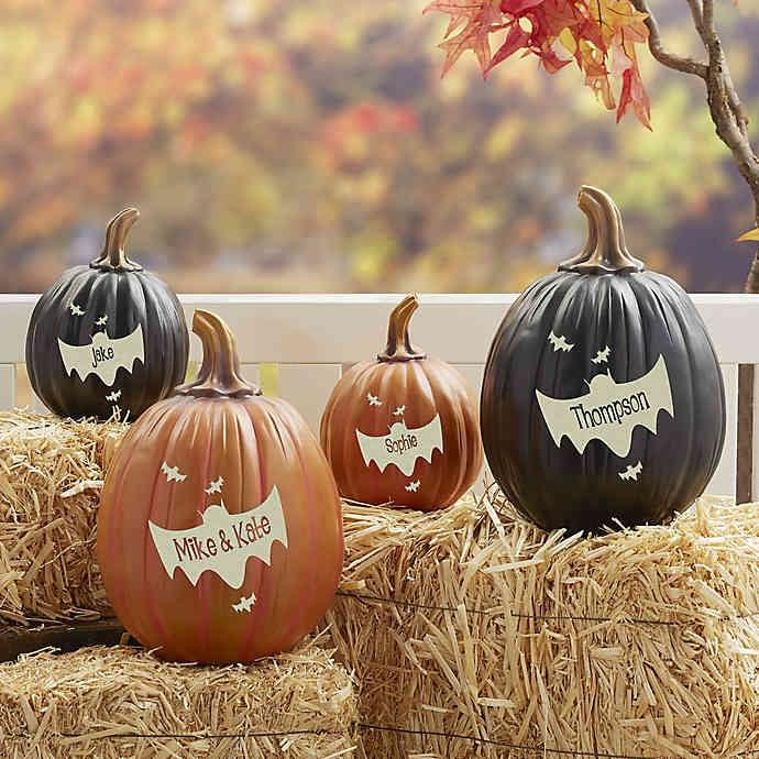 """<p>This personalized <a href=""""https://www.popsugar.com/buy/Bat-Family-Pumpkin-477513?p_name=Bat%20Family%20Pumpkin&retailer=bedbathandbeyond.com&pid=477513&price=26&evar1=casa%3Aus&evar9=46477304&evar98=https%3A%2F%2Fwww.popsugar.com%2Fphoto-gallery%2F46477304%2Fimage%2F46477338%2FBat-Family-Pumpkin&list1=shopping%2Challoween%2Cbed%20bath%20%26%20beyond%2Challoween%20decor%2Chome%20shopping&prop13=api&pdata=1"""" rel=""""nofollow"""" data-shoppable-link=""""1"""" target=""""_blank"""" class=""""ga-track"""" data-ga-category=""""Related"""" data-ga-label=""""https://www.bedbathandbeyond.com/store/product/bat-family-pumpkin/3338424?keyword=halloween-decorations"""" data-ga-action=""""In-Line Links"""">Bat Family Pumpkin</a> ($26-$44) is so cute! Pick it up in a small or large size, and decorate your home with it.  </p>"""