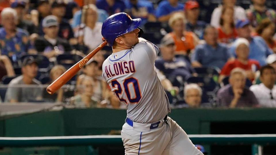 Pete Alonso follows through on home run at Nationals Park June 2021