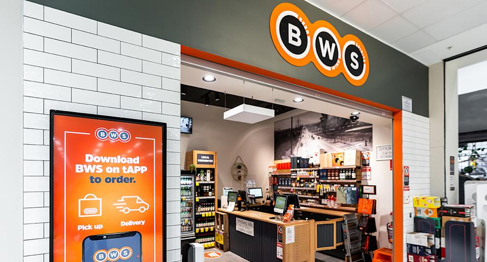 BWS store advertises the BWS app at its entrance.