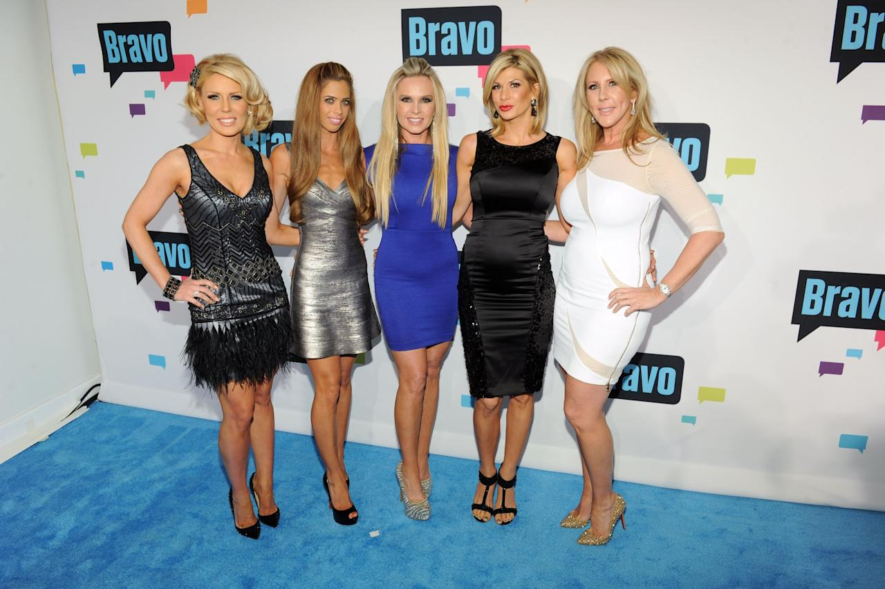 NEW YORK, NY - APRIL 03:  (L-R) Gretchen Rossi, Lydia McLaughlin, Tamra Barney, Alexis Bellino, and Vicki Gunvalson of 'The Real Housewives of Orange County' attend the 2013 Bravo New York Upfront at Pillars 37 Studios on April 3, 2013 in New York City.  (Photo by Craig Barritt/Getty Images)