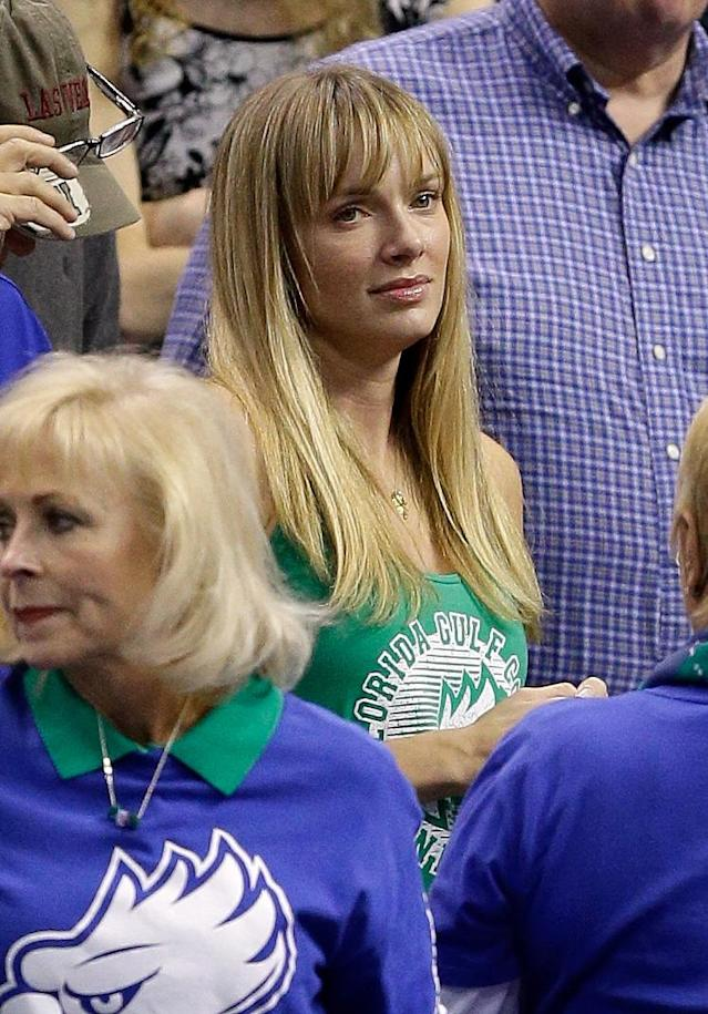 Amanda Marcum, the wife of head coach Andy Enfield of the Florida Gulf Coast Eagles, watches in the first half against the San Diego State Aztecs during the third round of the 2013 NCAA Men's Basketball Tournament at Wells Fargo Center on March 24, 2013 in Philadelphia, Pennsylvania.