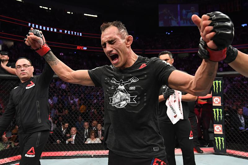 LAS VEGAS, NV - OCTOBER 06: Tony Ferguson celebrates his victory in the octagon in his lightweight bout during the UFC 229 event inside T-Mobile Arena on October 6, 2018 in Las Vegas, Nevada. (Photo by Josh Hedges/Zuffa LLC/Zuffa LLC)