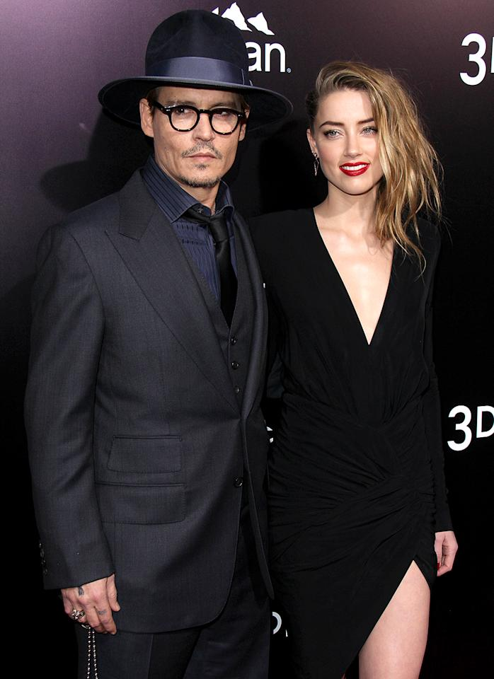 """<p>Yes, Depp was in a relationship with Vanessa Paradis for 14 years, but <a rel=""""nofollow"""" href=""""https://www.yahoo.com/celebrity/johnny-depp-former-flames-121252055.html"""">he's had a tough time</a> making other romances work. Remember when Depp was engaged to Winona Ryder? He was also reportedly engaged to actresses Sherilyn Fenn and Jennifer Grey, and dated Kate Moss for years. Then there's his <a rel=""""nofollow"""" href=""""https://www.yahoo.com/celebrity/johnny-depp-amber-heard-divorce-213535581.html"""">drama-filled divorce</a> from Amber Heard. We would discourage him from getting any more tattoos! (Photo: Janice Ogata/MediaPunch Inc./IPX) </p>"""